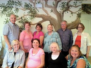 Back row: Mike, Kristen, Chelle, Kathy and her husband Fred, Linda.  Front row:  Donna, Kristel, Helen, Julia.