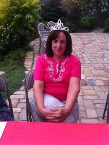 Karen, our new president. I gave her a tiara to go with the new position.