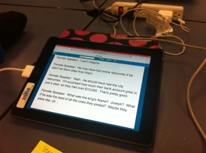 The tablet and TypeWell supplying our captions.